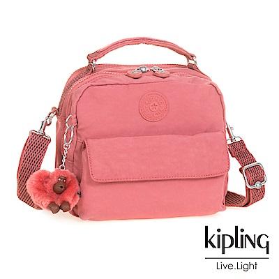 Kipling薔薇粉兩用側背後背包