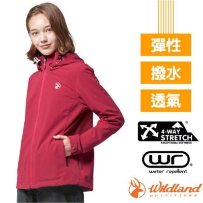 荒野 WildLand 女新款 三層竹炭膜防風拆帽外套_玫瑰紅