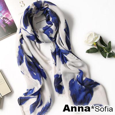 AnnaSofia 柔和卉影金染毛邊 柔軟大披肩圍巾(藍系)