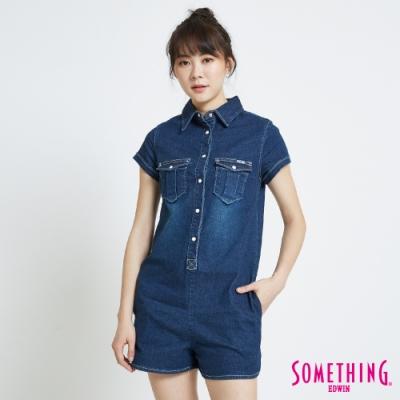 SOMETHING 襯衫式 牛仔連身短褲-女-中古藍