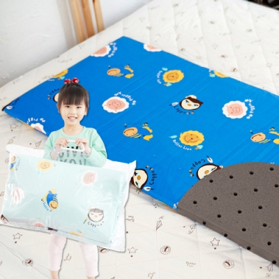 奶油獅-同樂會系列-100%精梳純棉嬰兒備長碳記憶床墊-宇宙藍60x120cm