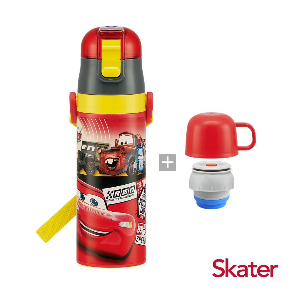 Skater直飲2way保溫水壺(附杯蓋組)-閃電麥昆-紅