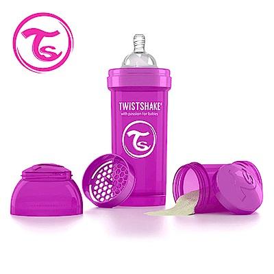 Twistshake 瑞典時尚 彩虹奶瓶/防脹氣奶瓶260ml/奶嘴口徑0.5mm-魔幻紫