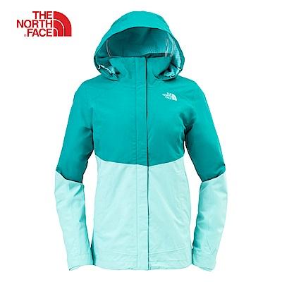 The North Face北面女款藍綠色防水透氣連帽外套|3L9C6RL1