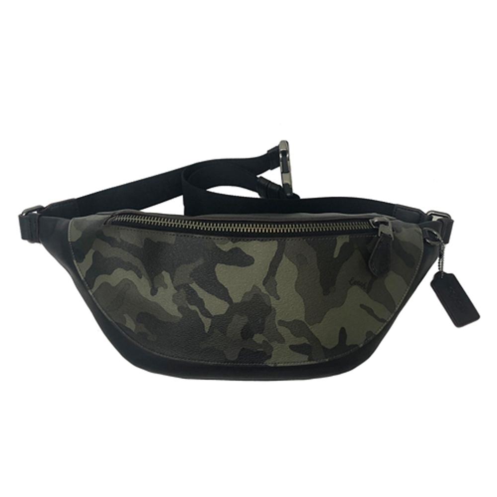 COACH 經典馬車 PVC牛皮肩背斜背中性兩用腰包/胸前包男款(迷彩綠)