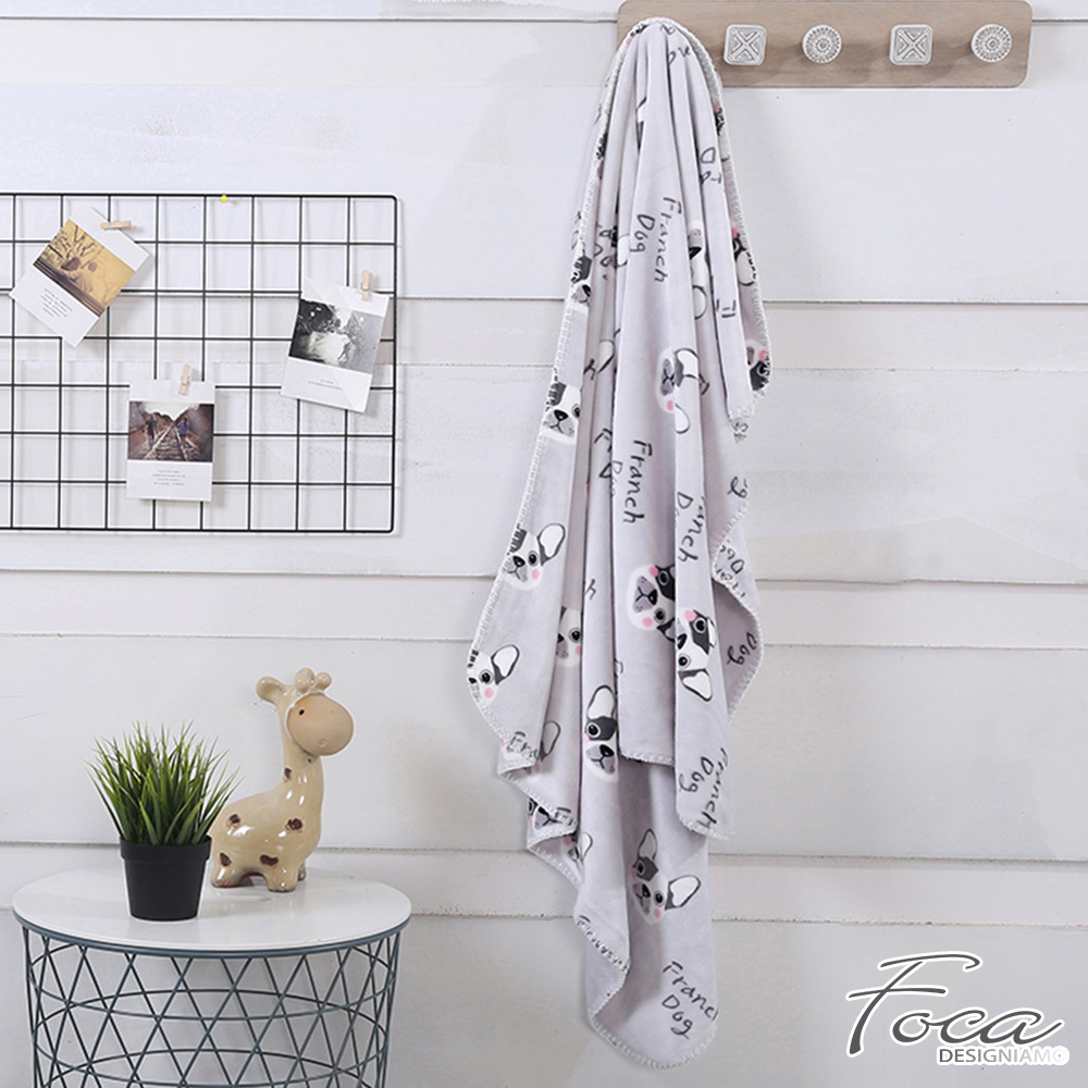 FOCA 汪汪派對  北歐風-小清新云芙絨透氣空調毯-韓國設計
