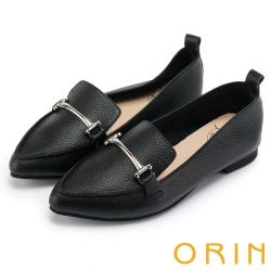 ORIN 優雅品味 金屬飾釦牛皮平底樂福鞋-黑色
