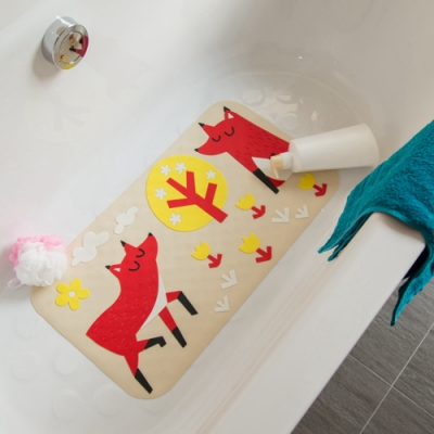 vanibaby浴室防滑墊浴盆止滑墊立體圖案超強吸力快樂狐狸
