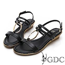 GDC-歐美真皮金屬圓圈楔型一字涼鞋-黑色