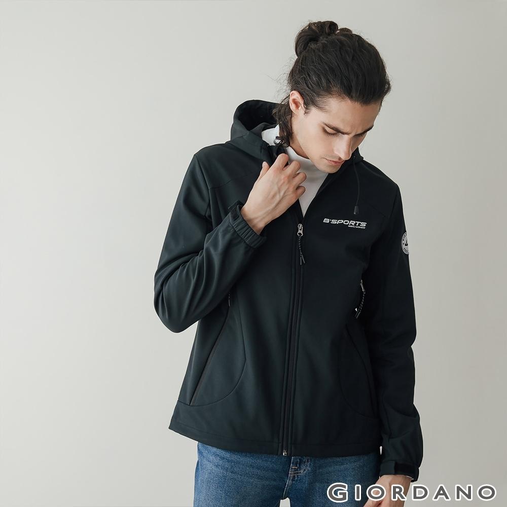 GIORDANO 男裝Softshell 三合一高機能刺繡徽章連帽外套-03 標誌黑