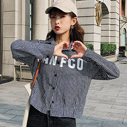 男友風字母印花豎條紋襯衫 (共三色)-Kugi Girl