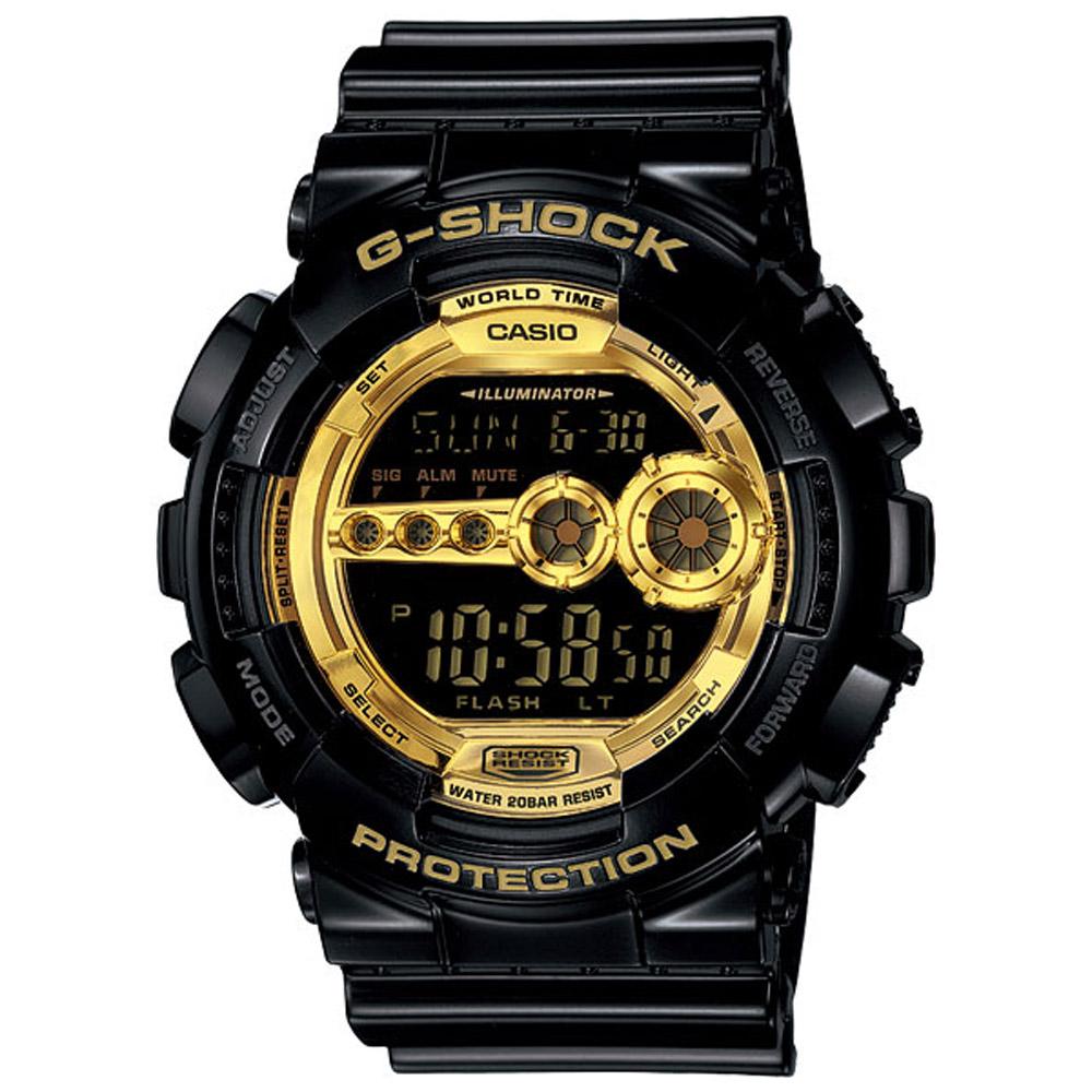 G-SHOCK 超人氣黑金耐衝擊運動錶(GD-100GB-1)-黑X金/51.2mm