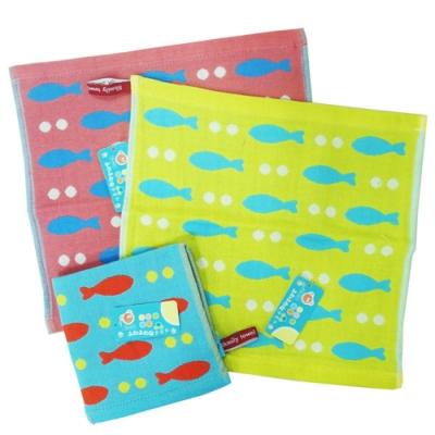點點小魚純棉方巾12入組 -4925