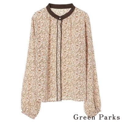 Green Parks 花卉滾邊襯衫上衣