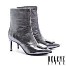 短靴 HELENE SPARK 超現代摩登皺金屬牛皮尖頭高跟短靴-銀