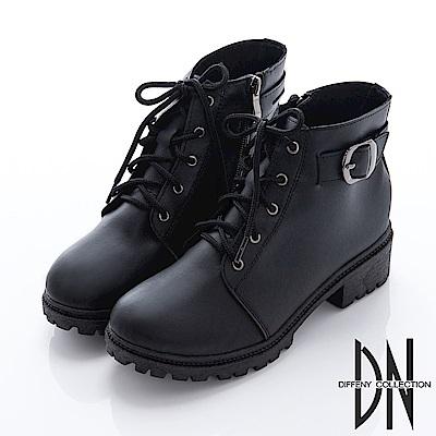 DN 個性女孩 率性綁帶拉鍊低筒短靴-黑