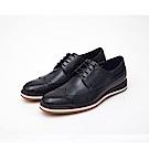 ALLEGREZZA-真皮男鞋-休閒舒適-真皮雕花德比鞋  藍色
