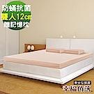 幸福角落 日本大和防蹣抗菌表布12cm厚超釋壓記憶床墊安眠組-雙人5尺