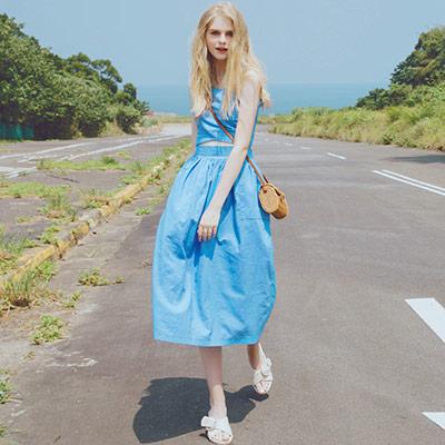 AIR SPACE 純色無袖兩件式長裙套裝(藍)