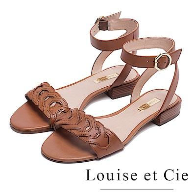 Louise et Cie 編織繞踝低跟涼鞋-棕色
