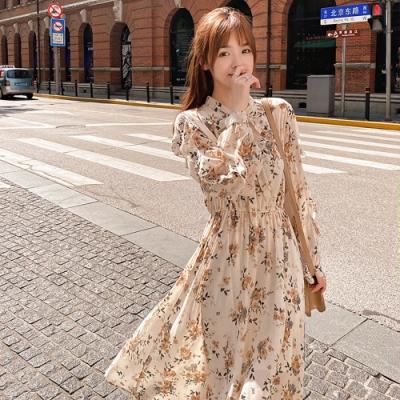 輕盈優雅褶皺印花雪紡洋裝S-XL(共二色)-Dorri