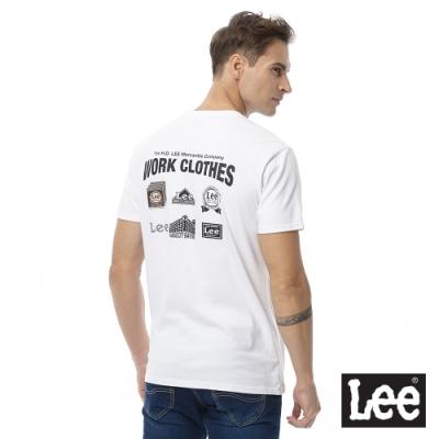 Lee 短T 三角小logo後文字印刷 圓領 男 白