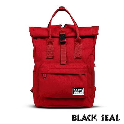 福利品 BLACK SEAL 聯名8848系列- 捲蓋式多隔層休閒後背包- 紅色