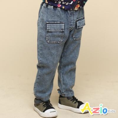 Azio Kids 男童 長褲 前雙蓋袋口袋彈性牛仔長褲(藍)
