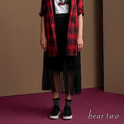 beartwo 天鵝絨內裡剪接雙層蕾絲長裙(二色)