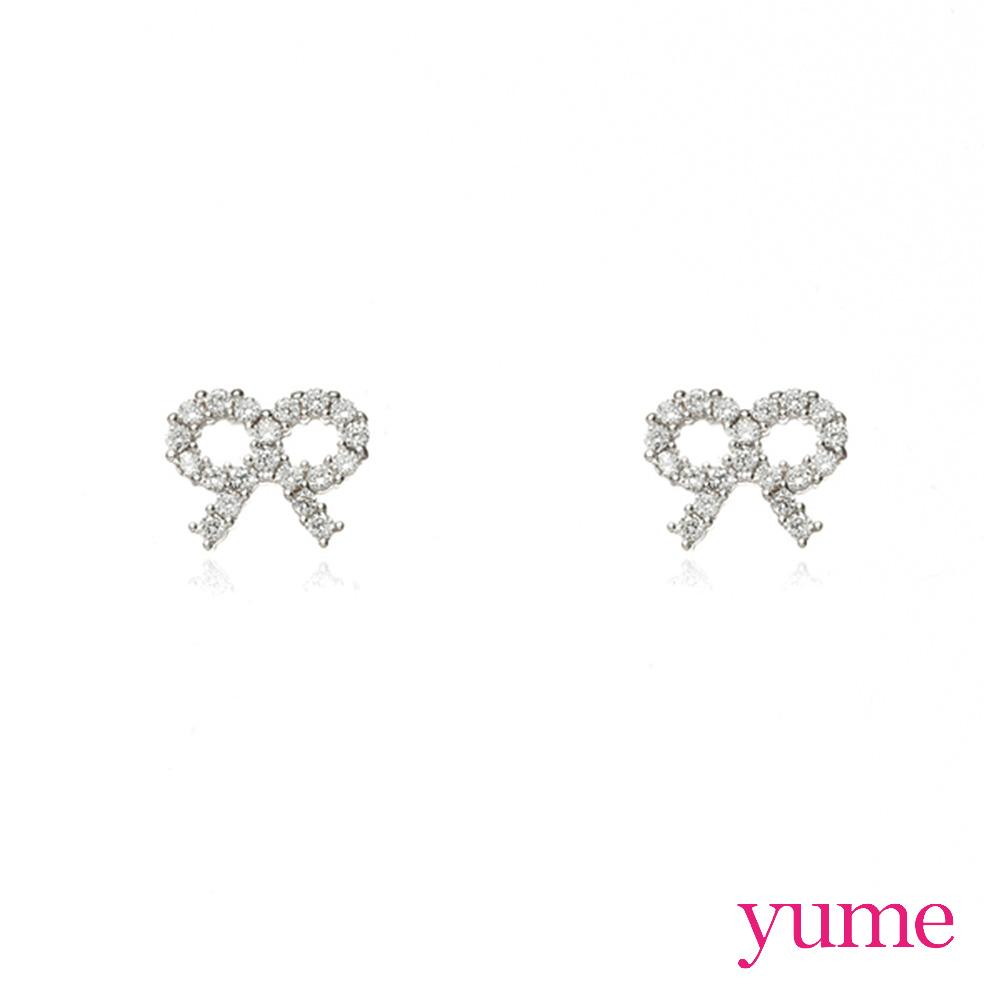 YUME - K金蝴蝶結晶鑽耳環