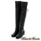 River&Moon大尺碼-俐落後馬戛貼腿彈力側拉鍊過膝靴-黑