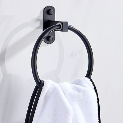 免打孔毛巾掛架 毛巾架 浴巾環 毛巾環 黑色掛架 無痕免釘 廚房 浴室收納架 毛巾桿 毛巾架 置物架附膠
