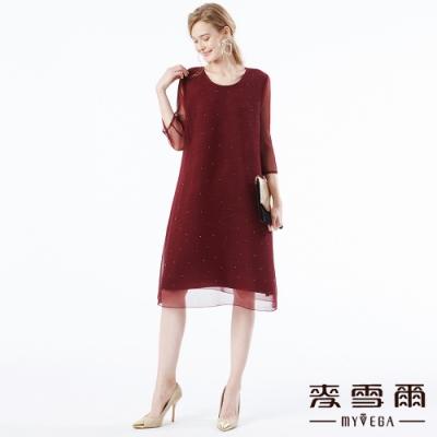【麥雪爾】水鑽雙層設計網紗洋裝