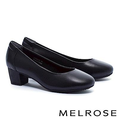 高跟鞋 MELROSE 經典百搭復古素雅牛皮圓頭粗跟高跟鞋-黑
