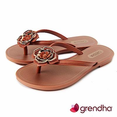 Grendha 拜占庭玫瑰夾腳鞋-咖啡