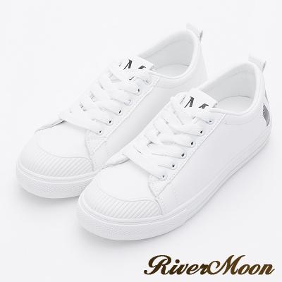 River&Moon休閒鞋- 韓版超激瘦厚底小白鞋-黑系