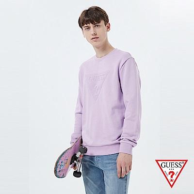 GUESS-男裝-經典LOGO壓印長袖T恤-紫 原價2990