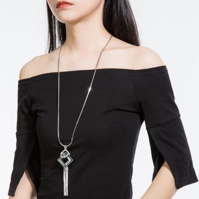 梨花HaNA 韓國方晶銀色字母菱感長項鍊