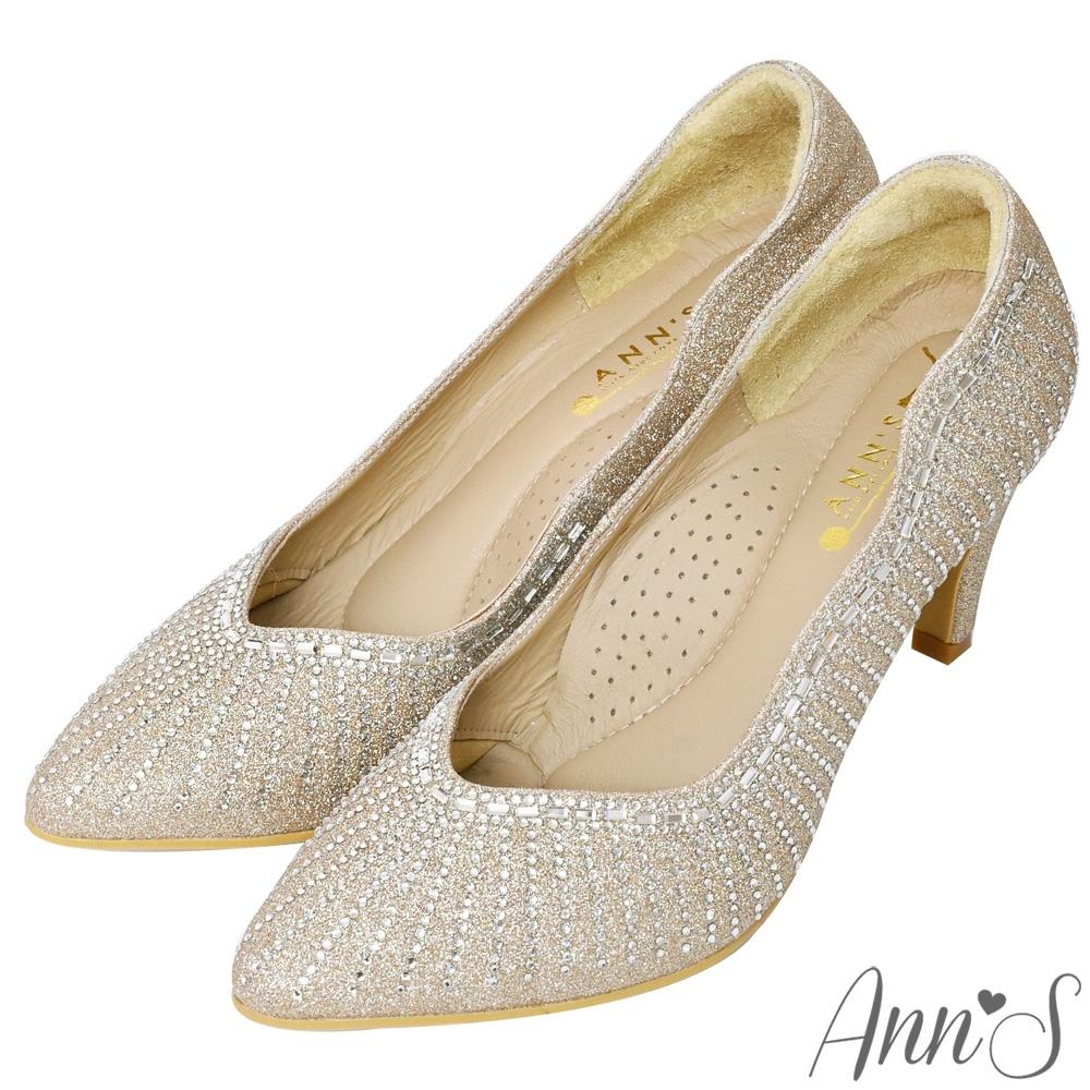 Ann'S最美煙火放射狀水鑽低跟尖頭婚鞋-金(版型偏小)