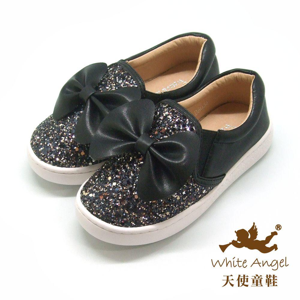 天使童鞋 俏麗亮點大蝴蝶休閒鞋(中-大童) D8038B-黑