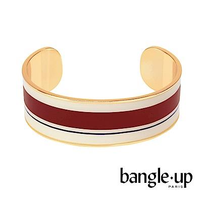 BANGLE UP 簡約條紋琺瑯鍍金開口寬手環 -紅白