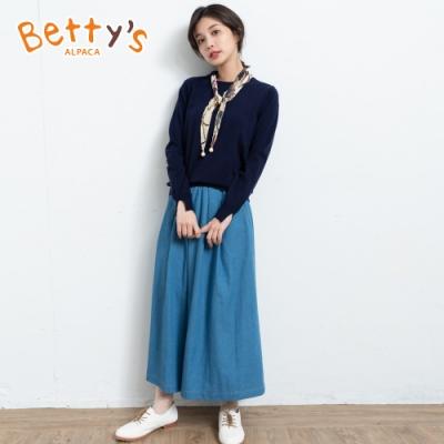 betty's貝蒂思 鬆緊腰圍飄逸感牛仔寬褲(淺藍)