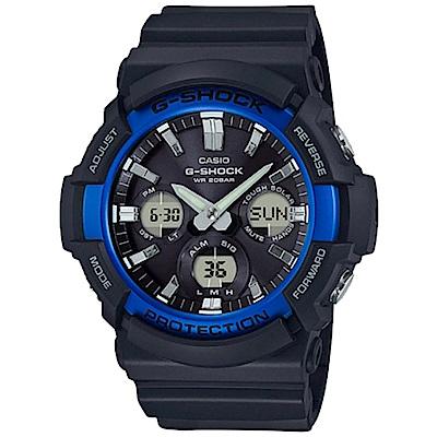 G-SHOCK強悍風範設計潮流時尚配備休閒錶(GAS-100B-1A2)-藍框52.5mm