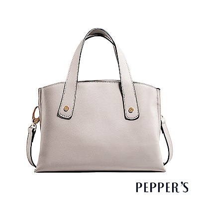 PEPPER`S Carey 牛皮手提包 - 象牙灰