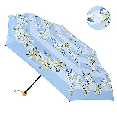2mm 100%遮光 百合花朵黑膠輕量手開傘 (藍色)