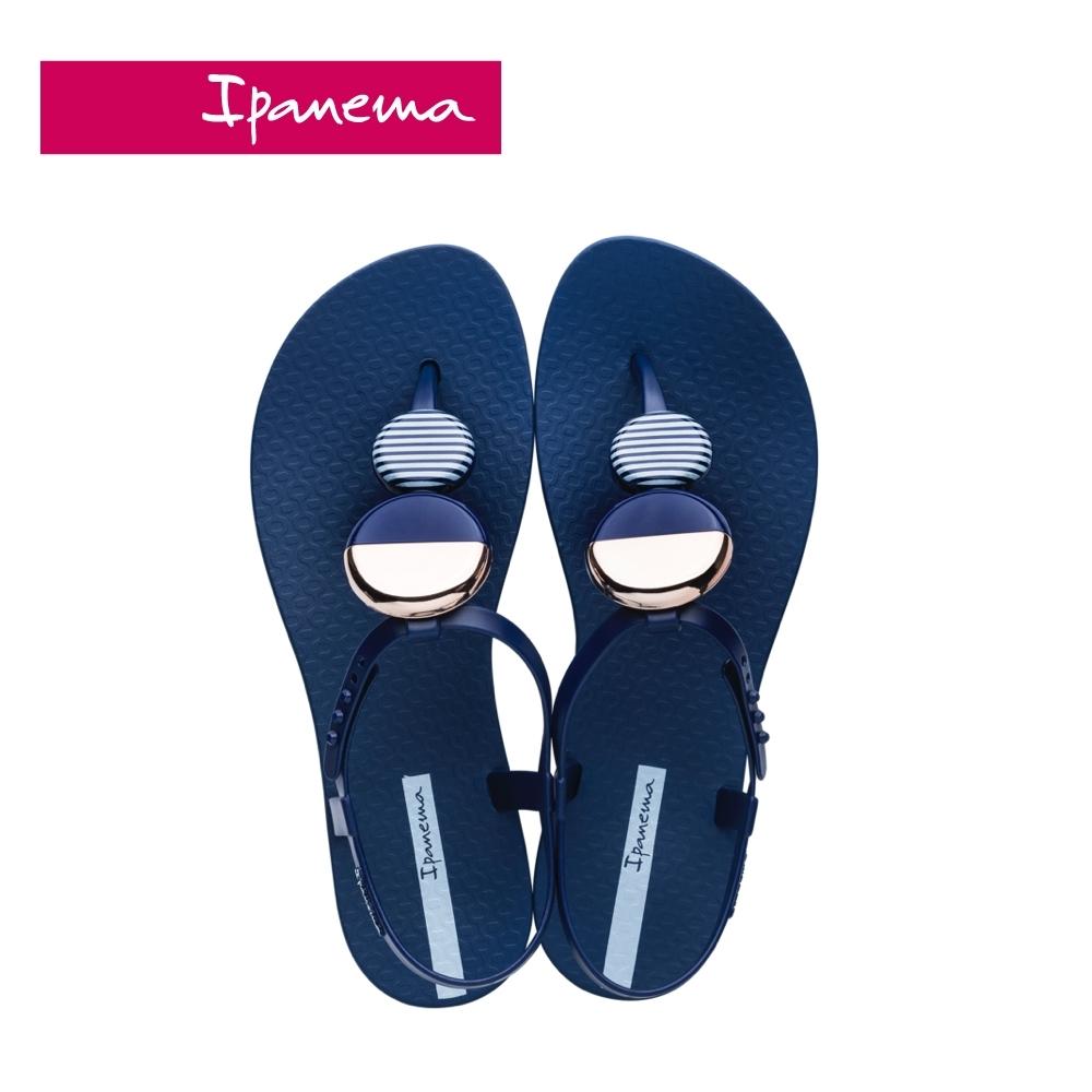 Ipanema ELLA FEM圓型幾何裝飾T字涼鞋-靛藍
