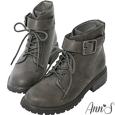 Ann'S帥氣軍靴-銀色扣帶綁帶短靴-灰