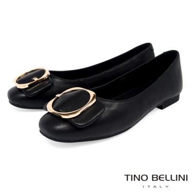 Tino Bellini大方金釦全真皮平底娃娃鞋_黑