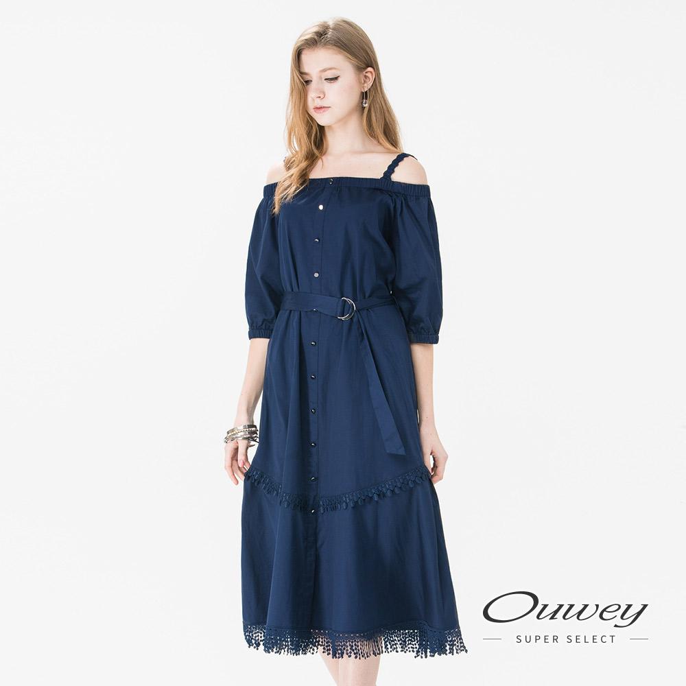 OUWEY歐薇 性感露肩蕾絲拼接洋裝(藍)