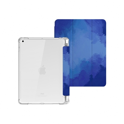ZOYU原創 iPad mini 5 7.9吋 保護殼 透明氣囊殼 彩繪圖案款-復古水彩海底(三折式/軟殼/內置筆槽)